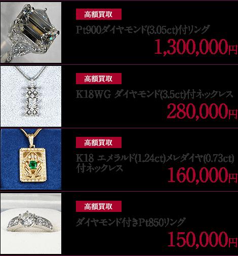 高価買取 Pt900ダイヤモンド(3.05ct)付リング・K18WG ダイヤモンド(3.5ct)付ネックレス・K18 エメラルド(1.24ct)メレダイヤ(0.73ct)付ネックレス・ダイヤモンド付きPt850リング